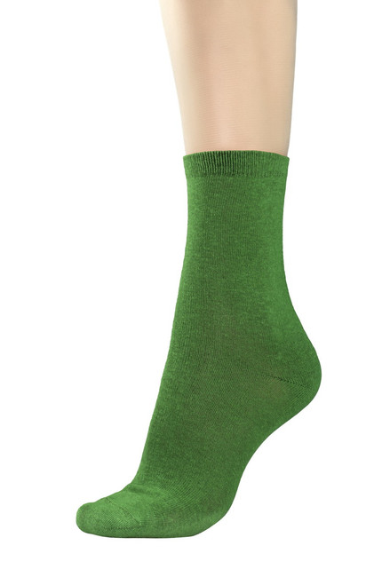 CONCITOR Women's Dress Socks Solid Emerald Green Color COTTON Mid Sock 3 Pairs