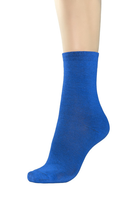CONCITOR Women's Dress Socks Solid Royal Blue Color COTTON Mid Cut Sock 6 Pairs