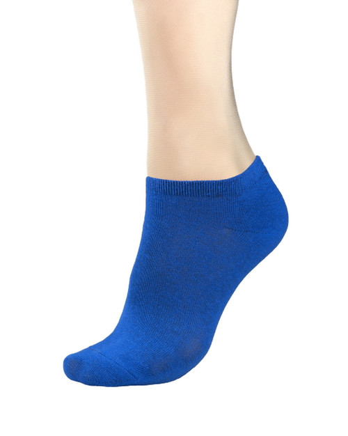 CONCITOR Women's Dress Socks Solid Royal Blue Color COTTON Low Cut Sock 6 Pairs