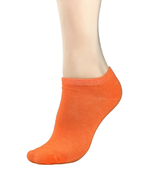 CONCITOR Women's Dress Socks Solid Orange Color COTTON Low Cut Sock 3 Pairs