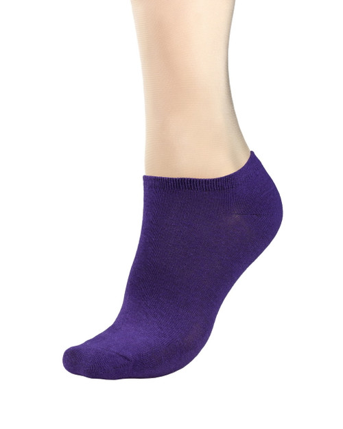 CONCITOR Women's Dress Socks Solid Purple Indigo Color COTTON Low Sock 3 Pairs