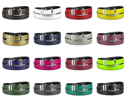 CONCITOR Reversible Belt Wide Solid Colors Black Bonded Leather Silver-Tone Buckle