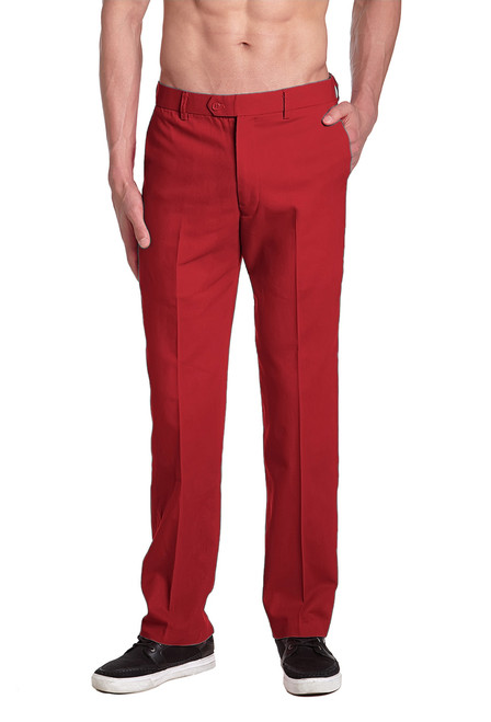 CONCITOR Brand Men's COTTON Dress Pants Solid RED Color Flat Front Mens Trouser