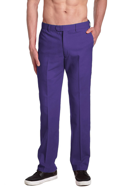CONCITOR Brand Men's COTTON Dress Pants PURPLE INDIGO Flat Front Mens Trousers
