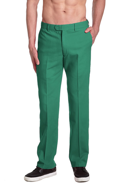 CONCITOR Brand Men's EMERALD GREEN Dress Pants COTTON Flat Front Mens Trousers