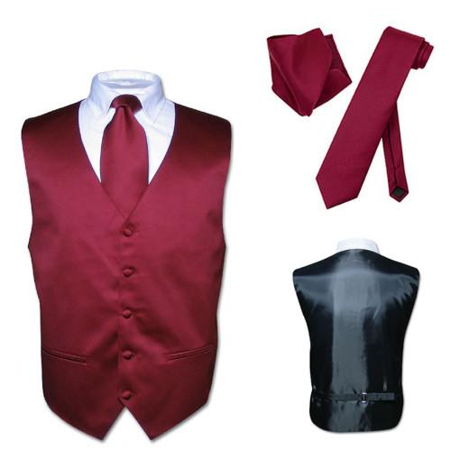 Men's Tall Dress Vest NeckTie Solid BLACK Color Long Neck Tie Set Suit or Tuxedo
