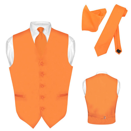 Men's Tall Dress Vest NeckTie Solid BLACK Color Long Neck Tie Set Suit or Tuxedo