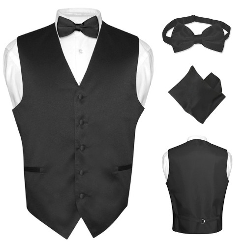 Men's Dress Vest BOWTie Hanky Solid BLACK Color Bow Tie Set Suit Tuxedo TALL M