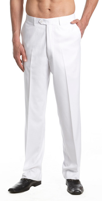 Men's Dress Pants Trousers Flat Front Slacks WHITE CONCITOR