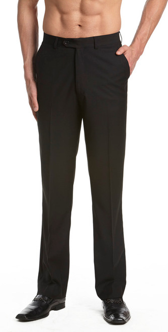 Men's Dress Pants Trousers Flat Front Slacks BLACK CONCITOR