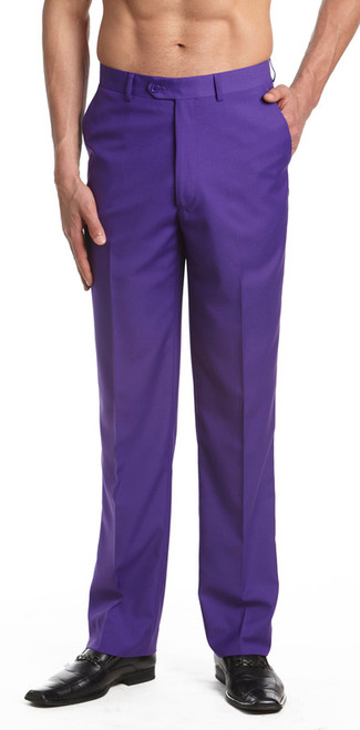 Men's Dress Pants Trousers Flat Front Slacks PURPLE INDIGO CONCITOR