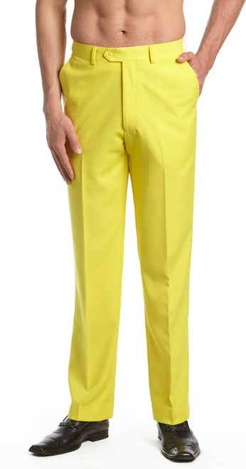 Men's Dress Pants Trousers Flat Front Slacks YELLOW CONCITOR