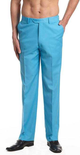 Men's Dress Pants Trousers Flat Front Slacks TURQUOISE BLUE CONCITOR
