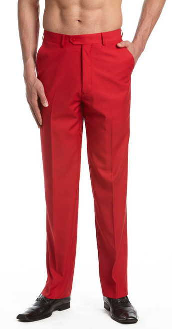 Men's Dress Pants Trousers Flat Front Slacks RED CONCITOR