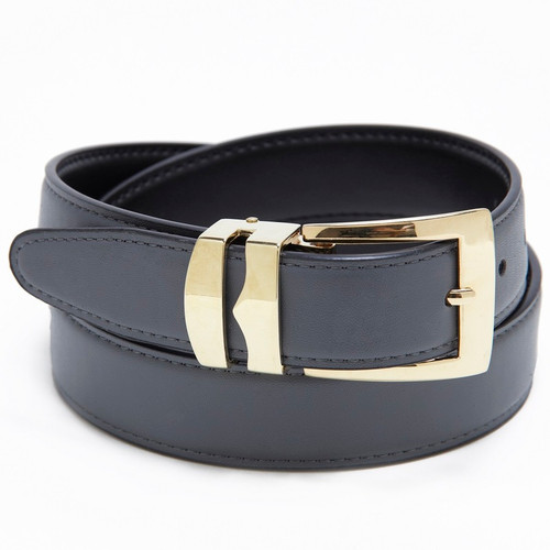 Reversible Belt Bonded Leather Removable Gold-Tone Buckle CHARCOAL GREY / Black