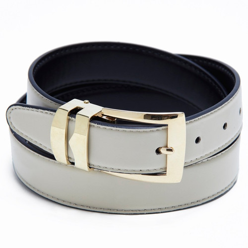Reversible Belt Bonded Leather Removable Gold-Tone Buckle CREAM / Black