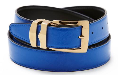 Reversible Belt Bonded Leather Removable Gold-Tone Buckle ROYAL BLUE / Black