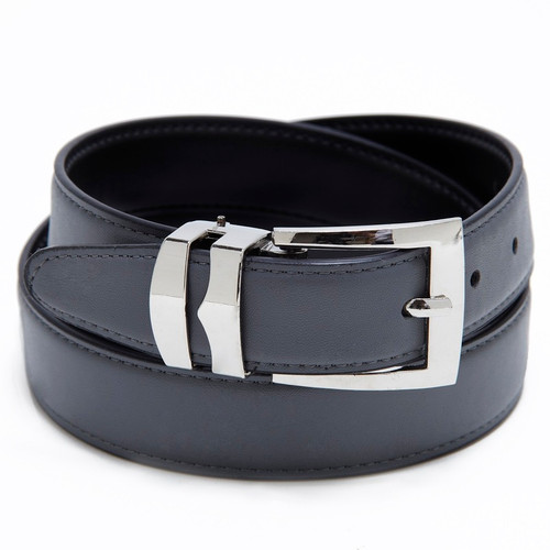 Reversible Belt Bonded Leather Removable Silver-Tone Buckle CHARCOAL GREY /Black