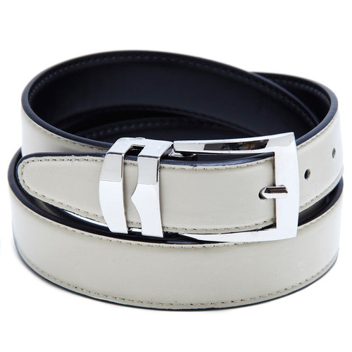 Reversible Belt Bonded Leather Removable Silver-Tone Buckle CREAM / Black