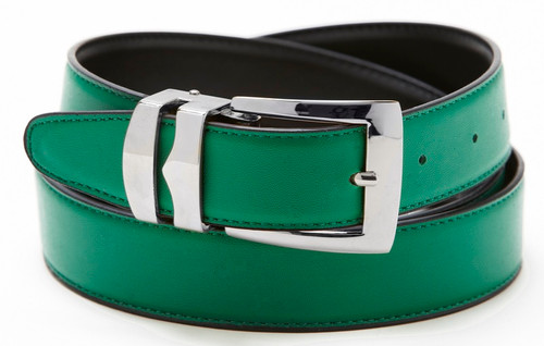 Reversible Belt Bonded Leather Removable Silver-Tone Buckle GREEN / Black