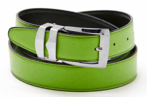 Reversible Belt Bonded Leather Removable Silver-Tone Buckle LIME GREEN / Black