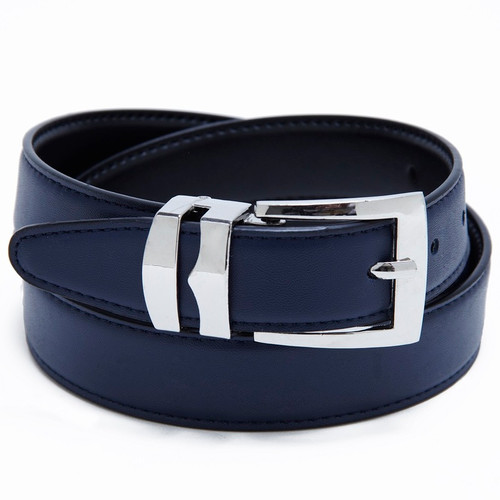 Reversible Belt Bonded Leather Removable Silver-Tone Buckle NAVY BLUE / Black