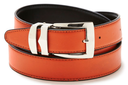 Reversible Belt Bonded Leather Removable Silver-Tone Buckle ORANGE / Black