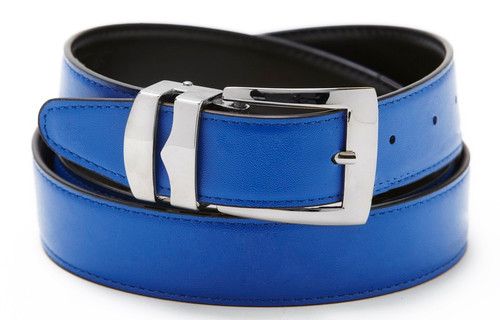 Reversible Belt Bonded Leather Removable Silver-Tone Buckle ROYAL BLUE / Black