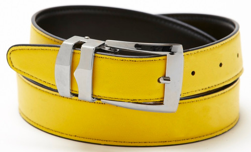 Reversible Belt Bonded Leather Removable Silver-Tone Buckle YELLOW / Black