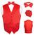 Men's Dress Vest BOWTie Hanky Solid RED Color Bow Tie Set Suit Tuxedo TALL 4XL