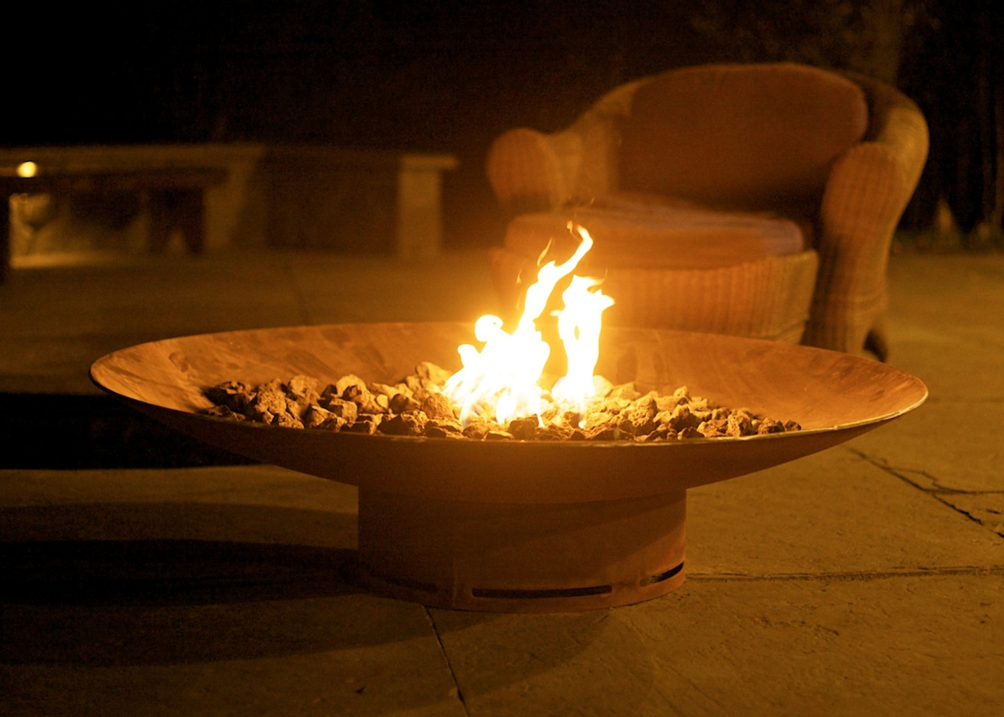 """Asia 60"""" Fire Pit Art® Carbon steel, low profile, natural gas or liquid propane fueled."""
