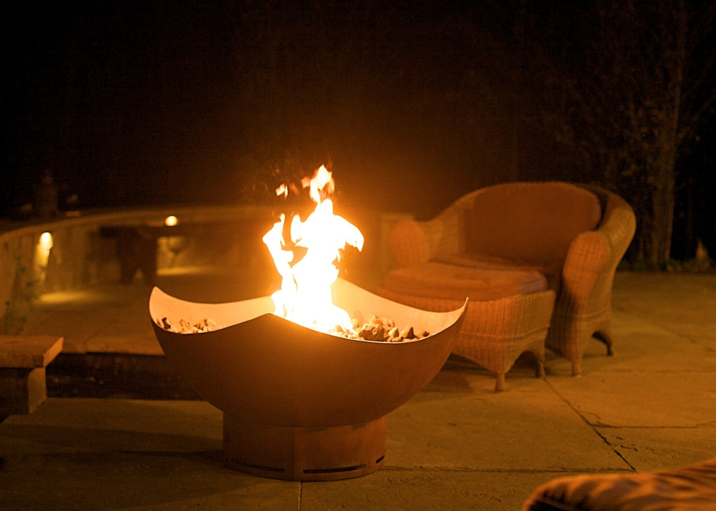 Manta Ray Fire Pit Art® gas fueled.
