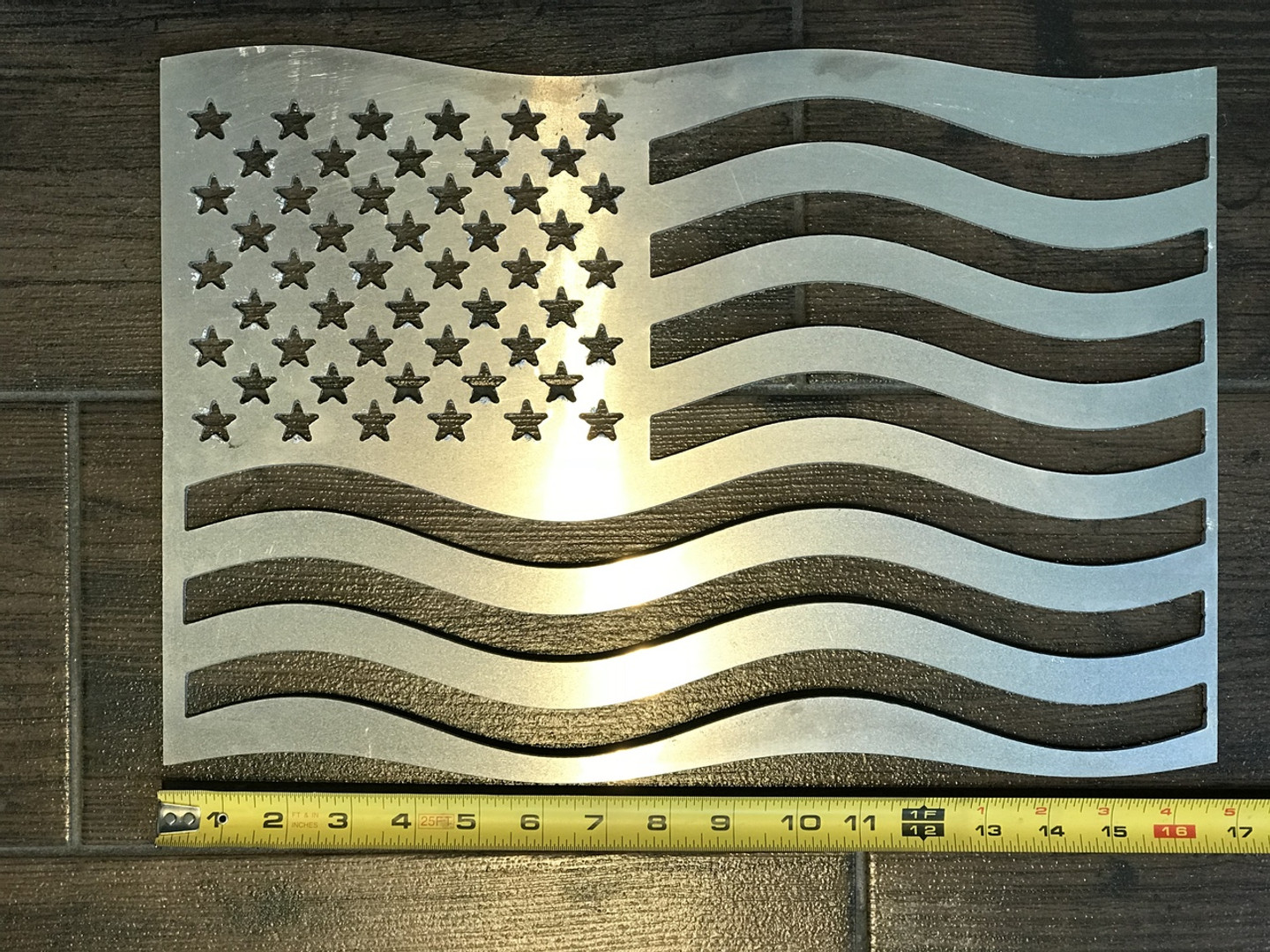 "Enjoy this American Flag created using 1/8"" aluminum."