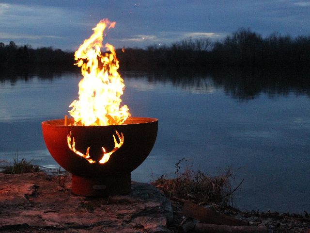 Antlers - Fire Pit Art by the lake night time image ... - Antlers - Fire Pit Art®