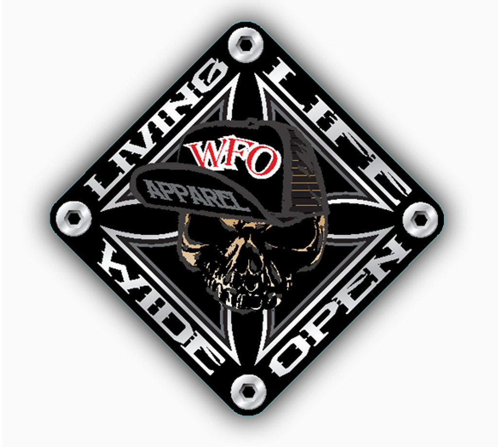 "WFO living life wide openDECAL 5.4"" X 5.4"""