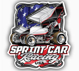 "SPRINTCAR RACING USA  DECAL 5.4""x 5.8"