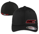 SJC BLACK FLEX FIT RED LOGO CURVED