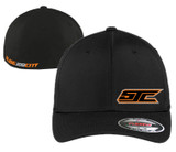 SJC BLACK FLEX FIT ORANGE LOGO CURVED