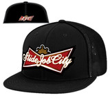 SJC kingofsliders patch flatbill trucker mesh blk