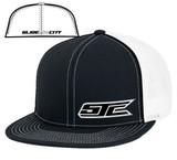 SJC logo flatbill trucker mesh blk/white