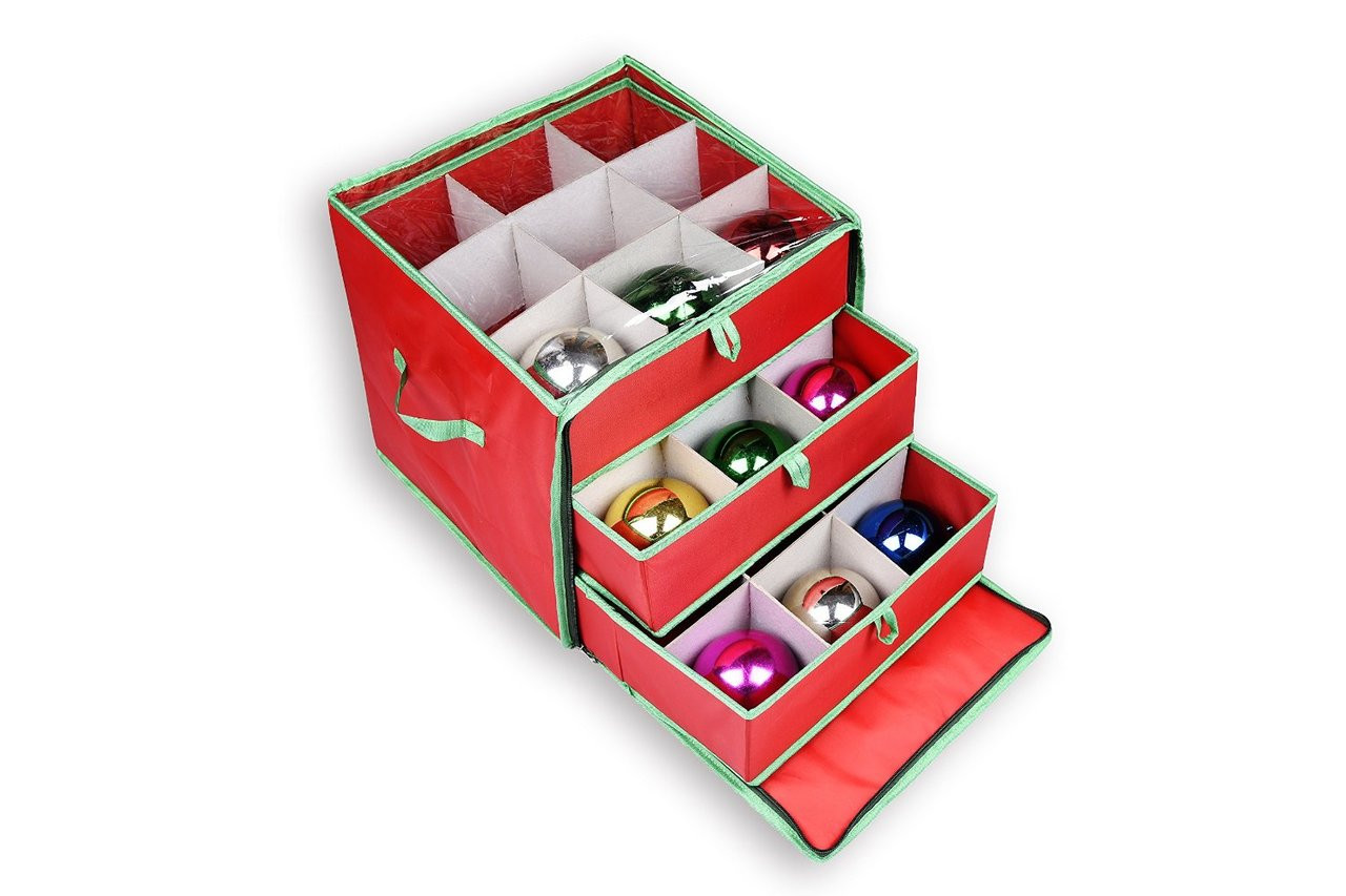 Ngenius Christmas Holiday Ornament Storage Box With Drawers For 27 Large Ornaments