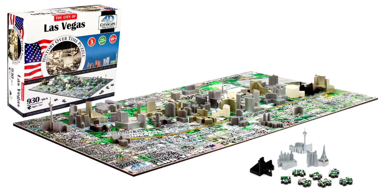Las Vegas - 930pc 4D Cityscape Educational Jigsaw Puzzle