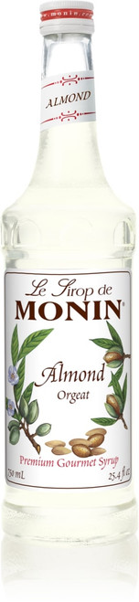 Monin Classic Flavored Syrups - 750 ml. Glass Bottle: Almond