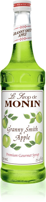 Monin Classic Flavored Syrups - 750 ml. Glass Bottle: Apple, Granny Smith