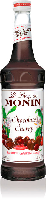Monin Classic Flavored Syrups - 750 ml. Glass Bottle: Chocolate Cherry