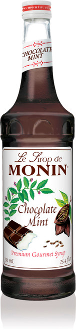 Monin Classic Flavored Syrups - 750 ml. Glass Bottle: Chocolate Mint