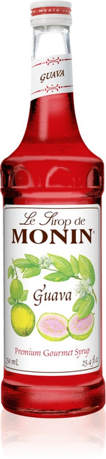Monin Classic Flavored Syrups - 750 ml. Glass Bottle: Guava