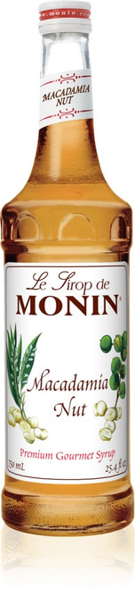 Monin Classic Flavored Syrups - 750 ml. Glass Bottle: Macadamia Nut