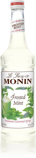 Monin Classic Flavored Syrups - 750 ml. Glass Bottle: Mint, Frosted