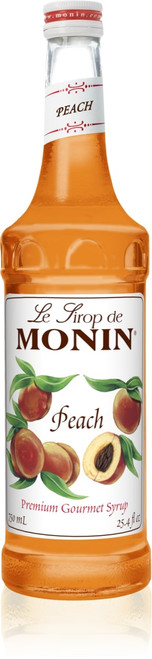Monin Classic Flavored Syrups - 750 ml. Glass Bottle: Peach